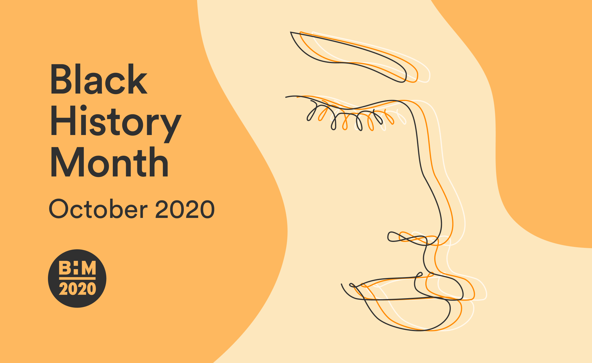 An image that depicts a line drawing of a face to represent Black History Month 2020 in the UK.