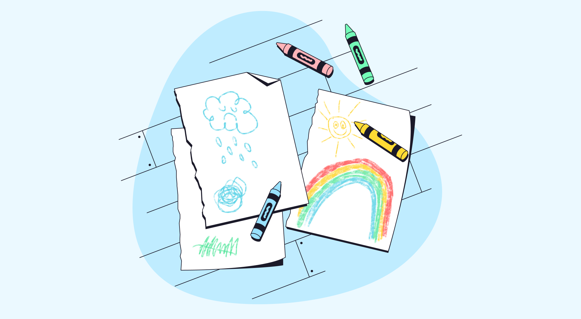 An image depicting children's drawings about their mental health