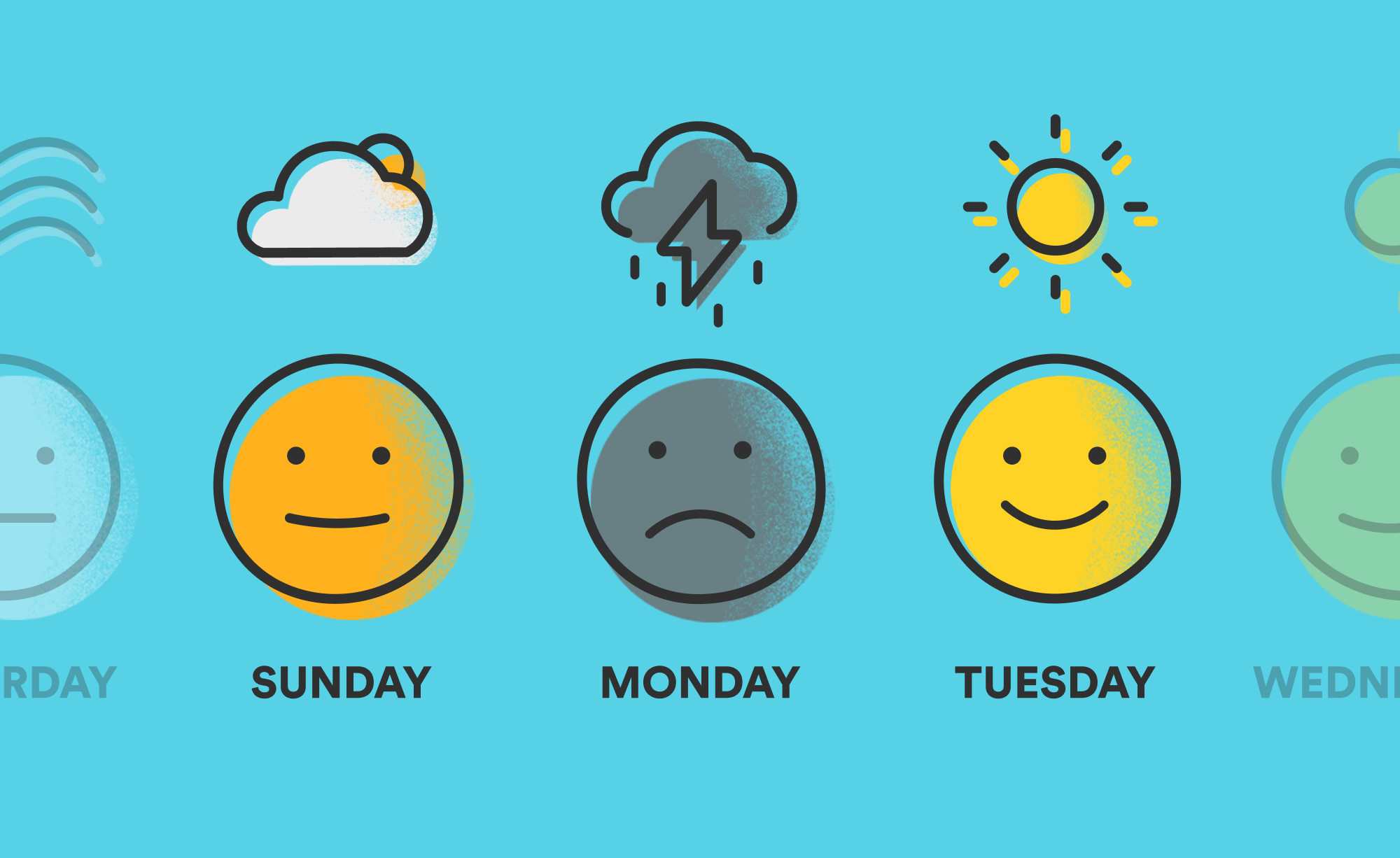 An illustration showing that our mood and mental health can vary from day to day